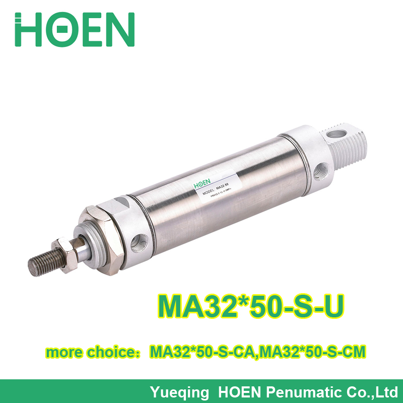 MA32-50 Airtac type MA series Stainless Steel Small Air Cylinder 32mm bore 50mm stroke single rod MA32*50-S-U su63 100 s airtac air cylinder pneumatic component air tools su series