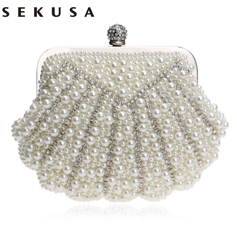 SEKUSA Shell Shaped Handmade Luxurious Wedding Handbags Beaded Rhinestones Purse Evening Bags Diamonds Clutches Bag sekusa pu fashion women diamonds luxurious evening bags clutch messenger shoulder chain handbags purse beaded wedding bag