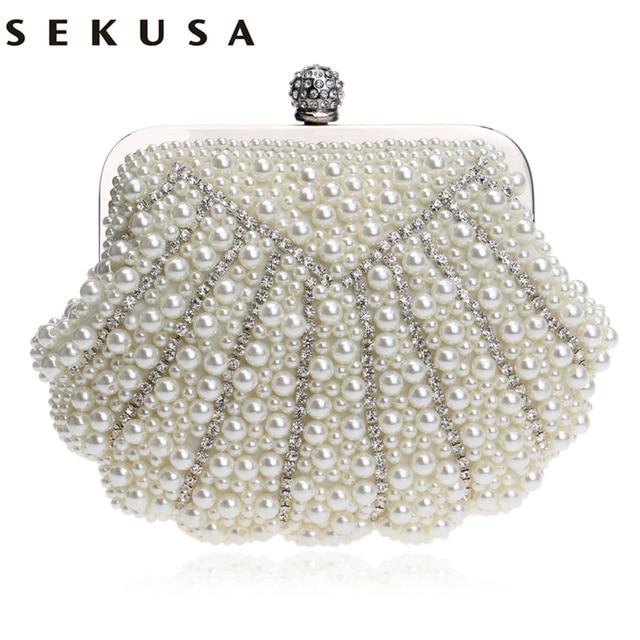 9917d1a064 SEKUSA Shell Shaped Handmade Luxurious Wedding Handbags Beaded Rhinestones  Purse Evening Bags Diamonds Clutches Bag