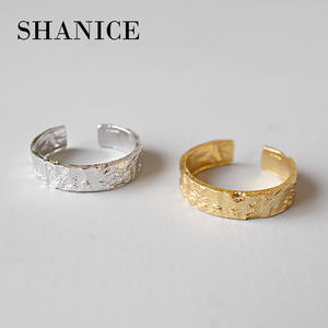 Simple-Ring Irregular 925-Sterling-Silver Gold-Color SHANICE Concave-Convex Women Anti-Allergy