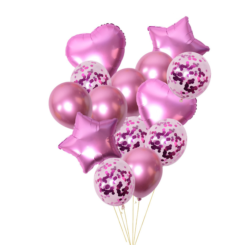 14pcs Metallic Color Star Heart Foil Balloons Clear Confetti Thick Pearl Metal Latex Birthday Party Decoration