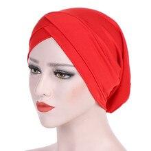 Тюрбан шапочки под хиджаб мусульманские для женщин Musulman Хиджаб внутренний сплошной обертывание кепки turbantes cabeza para las mujeres