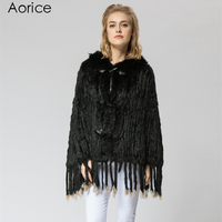 SRR001 3 Real Knitted Rabbit Fur Shawl Poncho Stole Shrug Cape Robe Tippet Wrap Russian Women