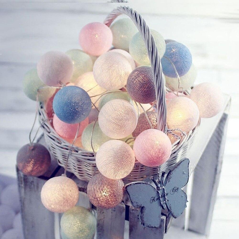 20/40/100 LEDs Cotton Ball String Light 3M/6M/10M Colorful Decorative Christmas Fairy Lamp 220V/110V Plug-in Holiday Garland все цены