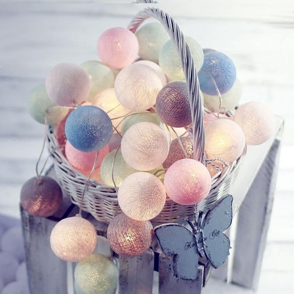 3M 20 LED 6M 40 LED Cotton Ball String Light Colorful Decorative Christmas Fairy Lamp Plug