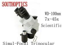 Meilleure vente, tête de Microscope stéréo à Zoom trinoculaire simul focal scientifique 7X 45X oculaire WF10x 1 paire de protège yeux en caoutchouc 1 paire