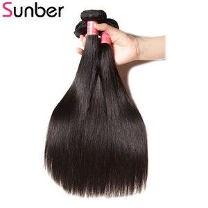 Image 4 - Прямые волосы Sunber, перуанские прямые волосы, 3 шт., высокое соотношение, волосы Реми, натуральный черный цвет, двойной уток 8  30 дюймов, можно повредить