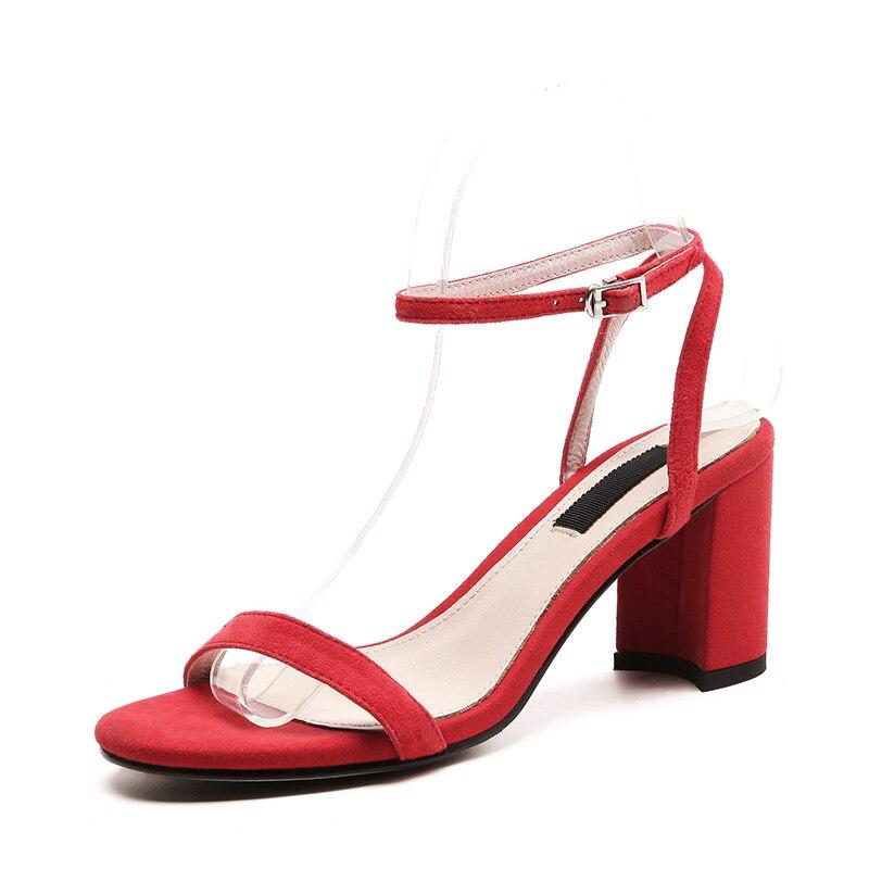 Femme bleu Suede Hauts Boucle Chaussures Femmes noir Arrivée 2018 Talons Rouge Mode Sangle De Apricot Kid Carrés rouge Noir Causalité Nouvelle Sandales NmwvnO08