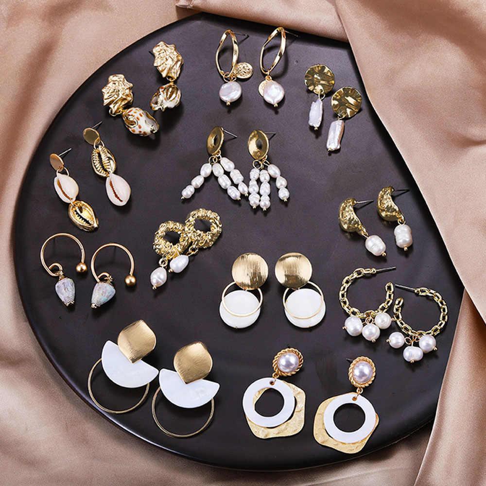 Barok tatlısu taklit inci küpeler kadınlar için doğal deniz kabuğu Dangle bırak küpe yeni altın renk büyük bildirimi Jewel