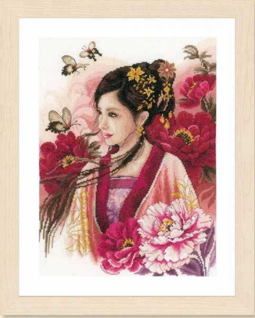 Gold Collection Beautiful Counted Cross Stitch Kit Asian Lady In Pink Girl Woman Lass And Peony Flower Peonies