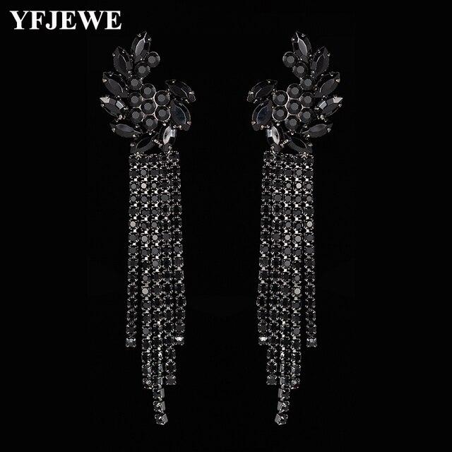 YFJEWE черный роскошный горный хрусталь Винтаж длинные кисточки Висячие серьги для вечерние партия ювелирные изделия цепи длинные висячие серьги E604