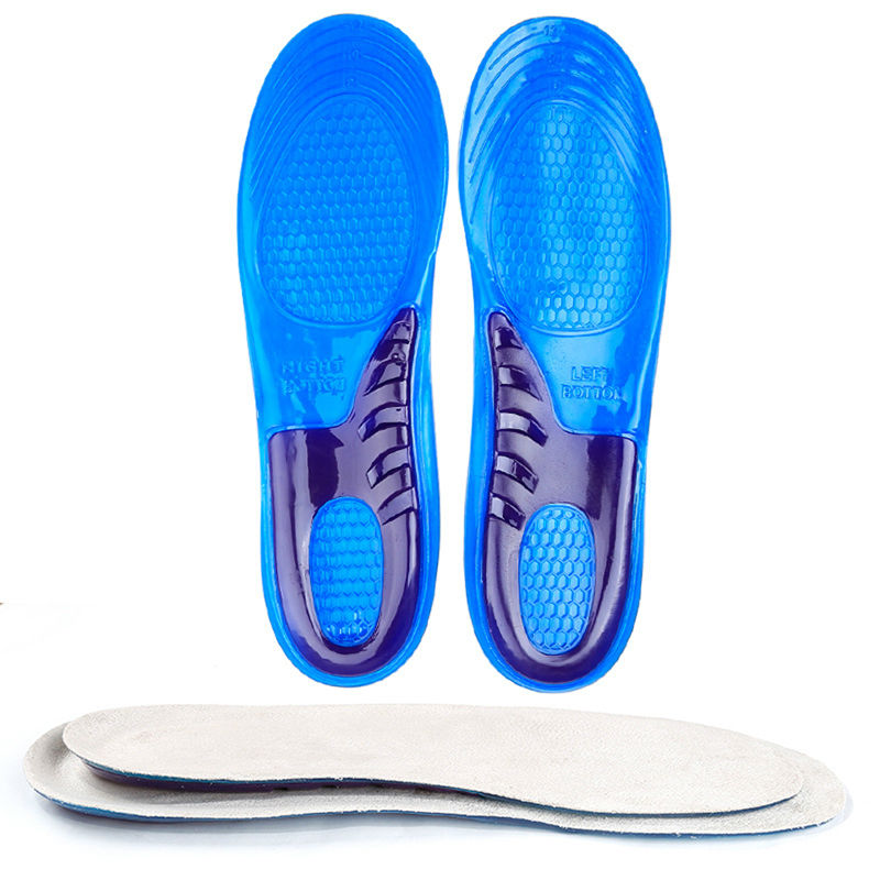 1Pair Gel Silicon Shoes Insoles Comfort Sports Shock Absorption Foot Care Arch Support Massage Shoes Insert Insole for Men 8-12