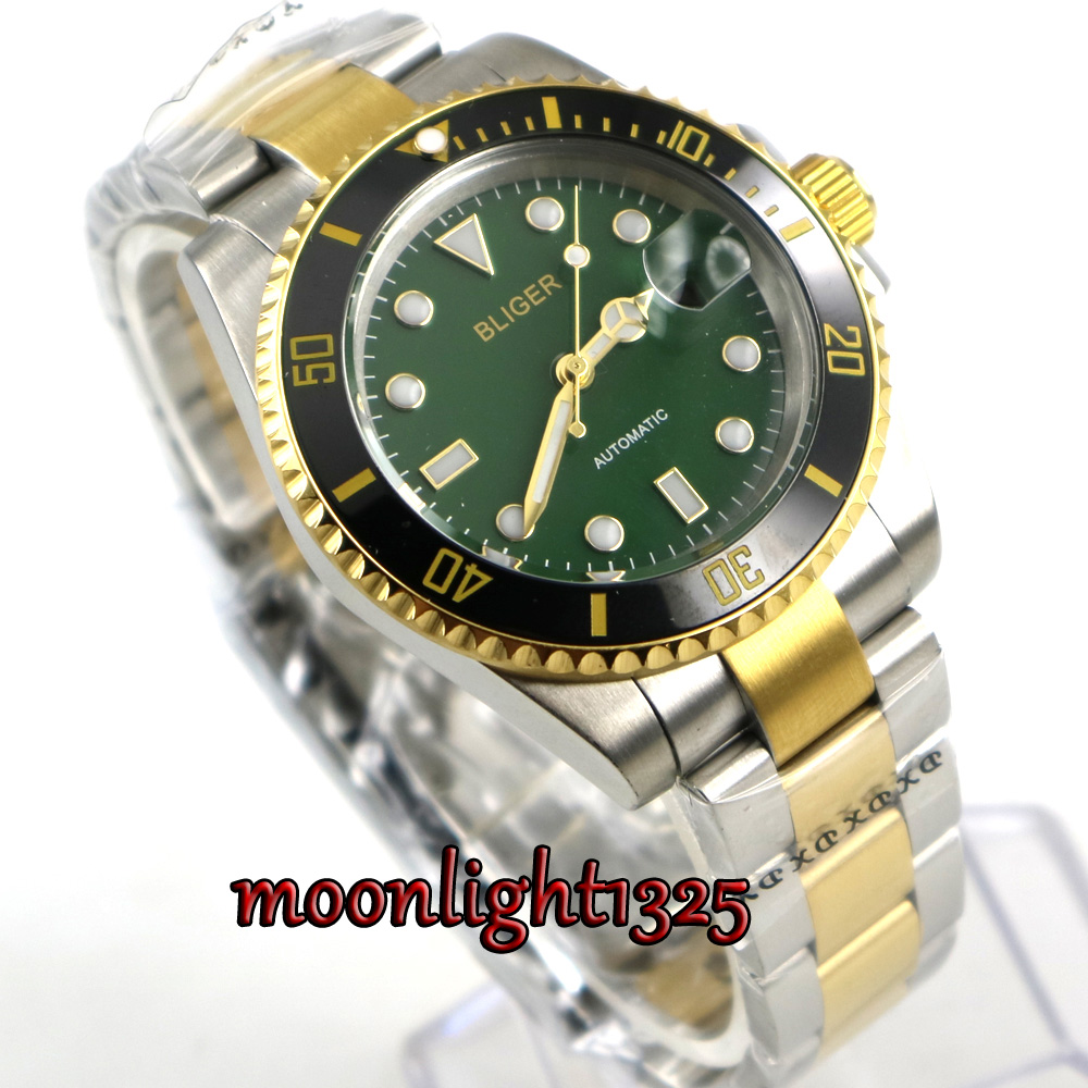 лучшая цена Golden plated BLIGER 40mm Green Dial Sapphire Glass black Ceramic BEZEL Automatic movement men's watch men