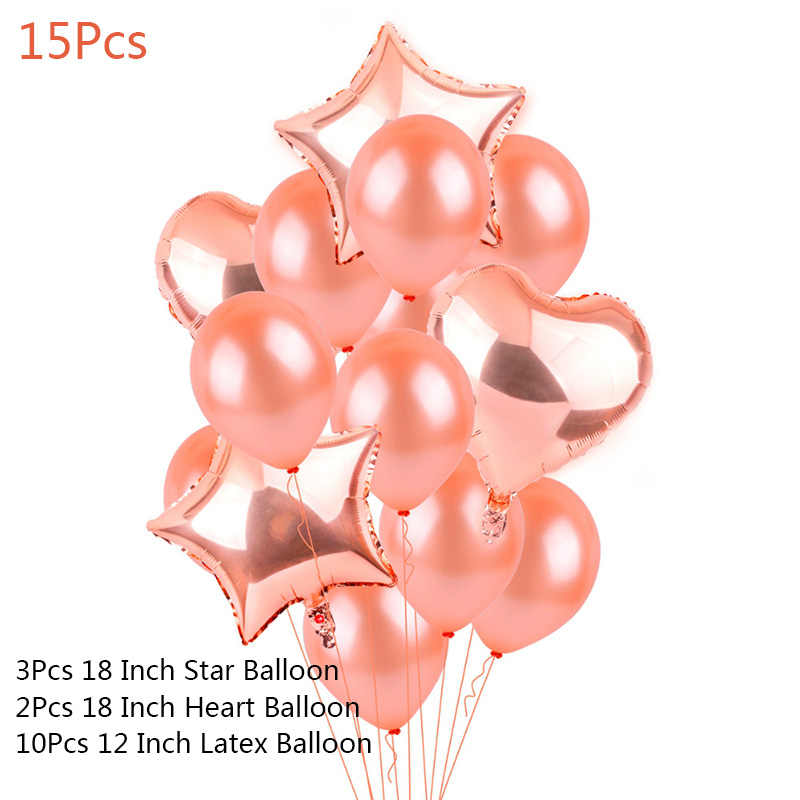 15Pcs Rose Gold Star Heart Foil Balloons Air Wedding Decoration Helium 32'' Balloon Happy Birthday Party Decor Kids Baby Shower