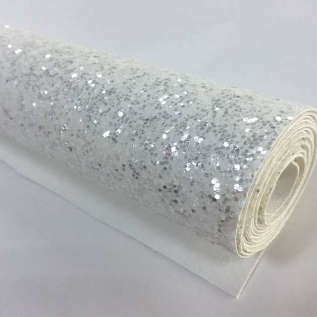 Online Shop Grade 3 white silver chunky glitter fabric roll 25cm 138cm wall  border wallpaper  c147489f7f4a