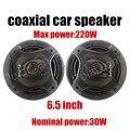 De alta calidad de un par de 6.5 pulgadas de altavoces del automóvil coaxial de audio del coche tweeter altavoz max power music 220 W para el bajo
