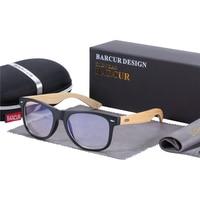 Lumière bleue - Bambou - Noir mat - Etui en cuir