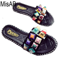 Women Slippers Colorful Rivets Women Sandals Flip Flops Casual Fashion Beach Shoes For Women Indoor Outdoor
