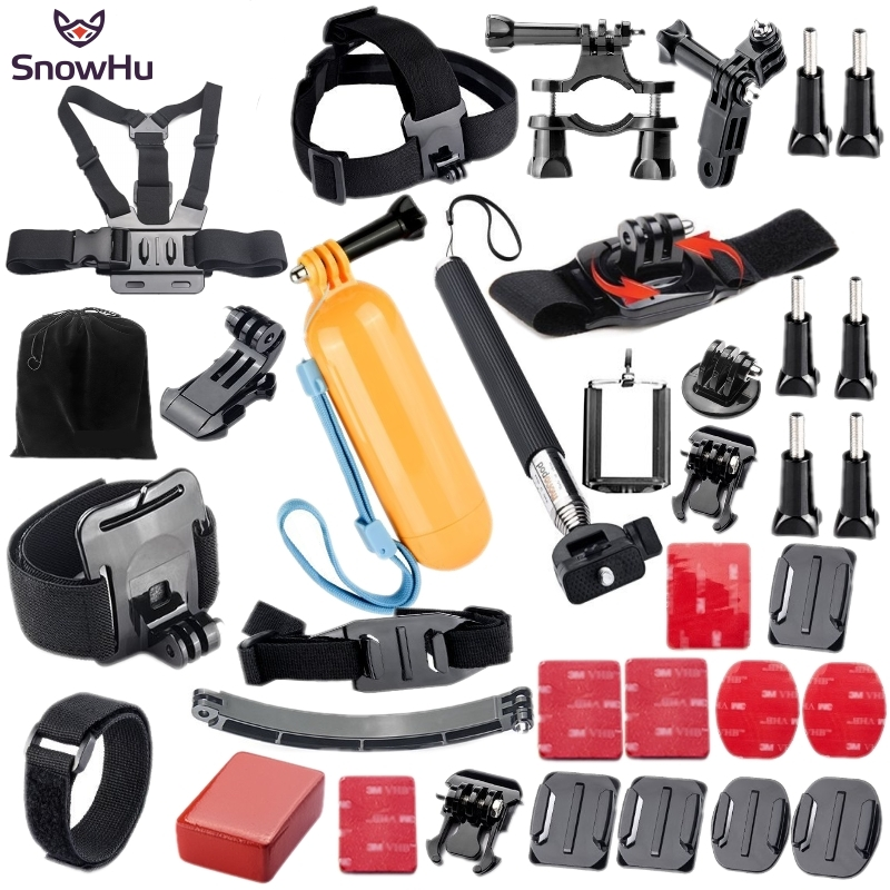 SnowHu for Gopro Accessories set for go pro hero 6 5 4 3 kit mount for SJCAM SJ4000 for xiaomi yi camera for eken h9 tripod GS21 free shipping flip remote key shell colorful replacement cover shell for fiat 500 panda punto bravo case