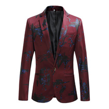 Suit jacket autumn new mens slim single button  suit men large size fashion print S-6XL casual blazer