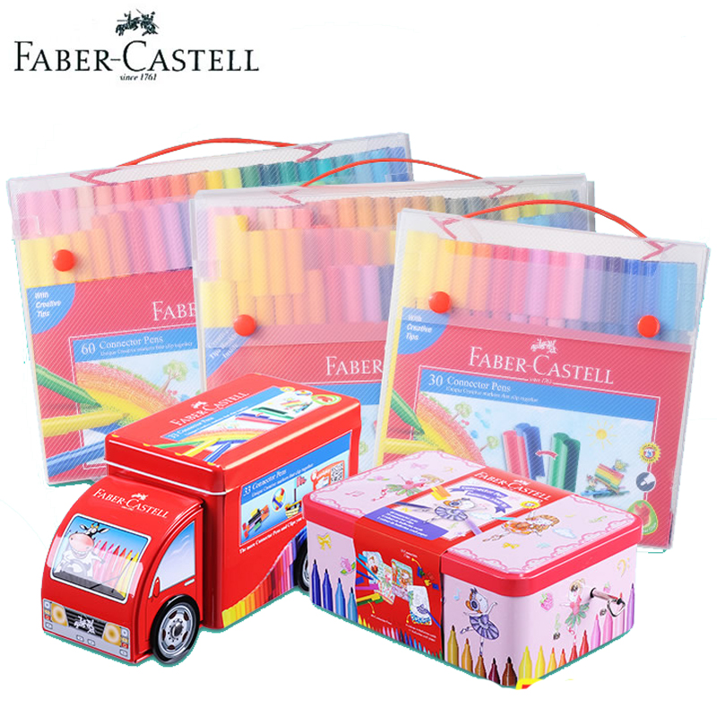 Faber Castell Fibre-tip Watercolor pen Connector Colored Painting Sketch- Premium Art Supplies For Kids Pack Of 10 20 30 40 80 faber castell 30 colors cute creative colorful crayons connector watercolor gel pen for drawing art stationery supplies