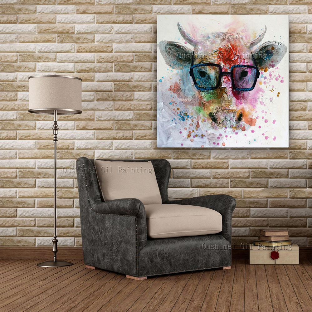 Handmade animal oil painting hang paintings modern cartoon abstract cow picture for living room for Living room wall decor pictures