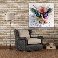 Handmade Tierölgemälde Hängen Gemälde Moderne Cartoon Abstrakte Kuh Bild Für Wohnzimmer Dekorwandkunst Leinwand Malerei-in Malerei und Kalligraphie aus Heim und Garten bei