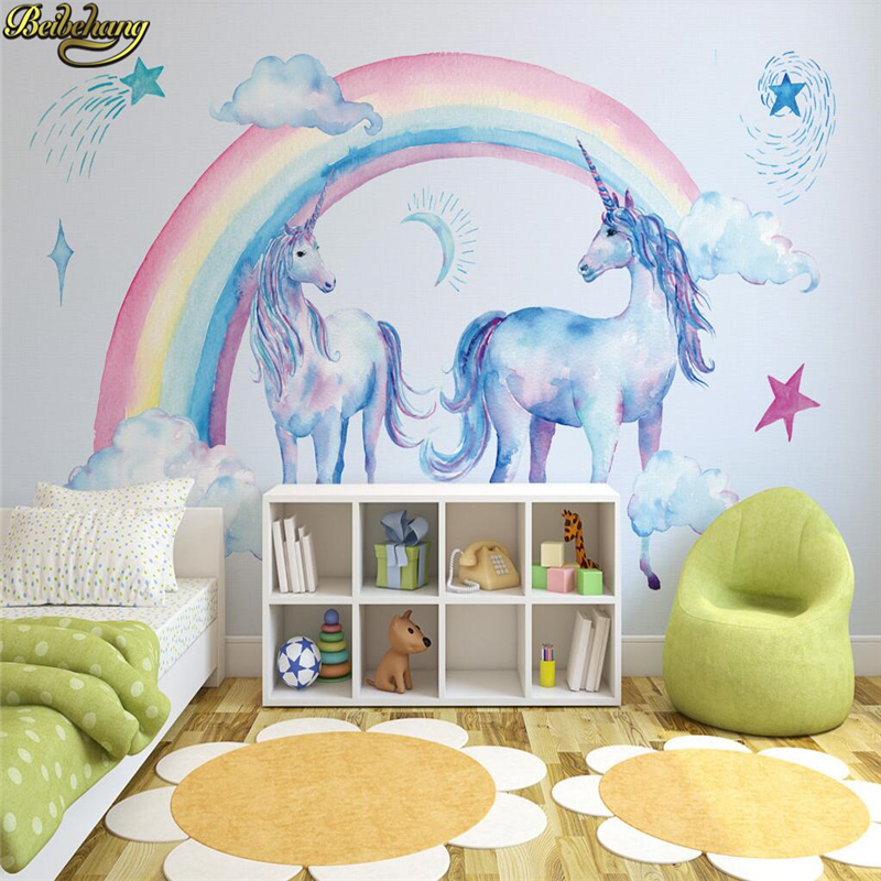 beibehang papel de parede 3d forest wallpaper Nature Landscape unicorn Wall paper Mural Living Room Sofa TV Bedroom Backdrop custom papel de parede infantil see graffiti mural for sitting room sofa bedroom tv wall waterproof vinyl which wallpaper