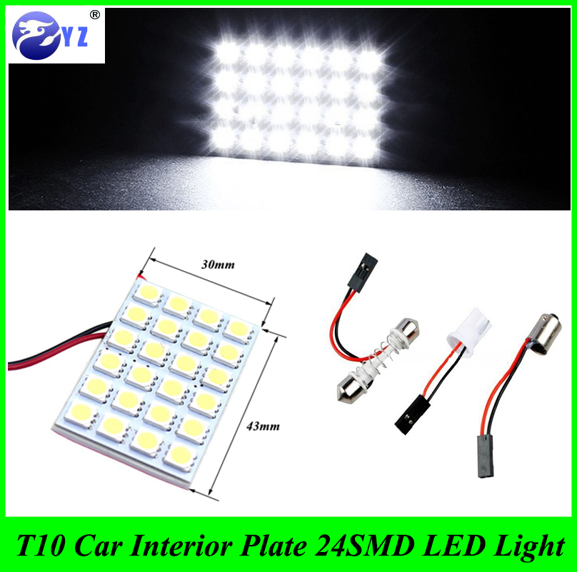 10 Set T10 W5W BA9S Festoon 43mmx30mm with 3 Adapters 24SMD 24 smd 5050 LED reading Panel Lights Car interior Dome light lamp