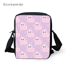 ELVISWORDS Women Messenger Bags Cartoon Sheep Pattern Shoulder Kawaii Owl Animal Girls Flaps Handbags Mini Kids Mochila