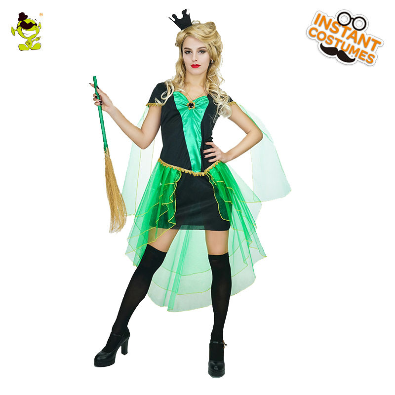 Adult Women's Wizard Witch Costume Cosplay Halloween Party  Sexy Crafty Cutie Black Green Fancy Dress Outfits Costumes