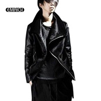 New Men S Fake Fur Jacket Leather Fur Splice Fashion Slim Fit Coat Mens Rock Punk