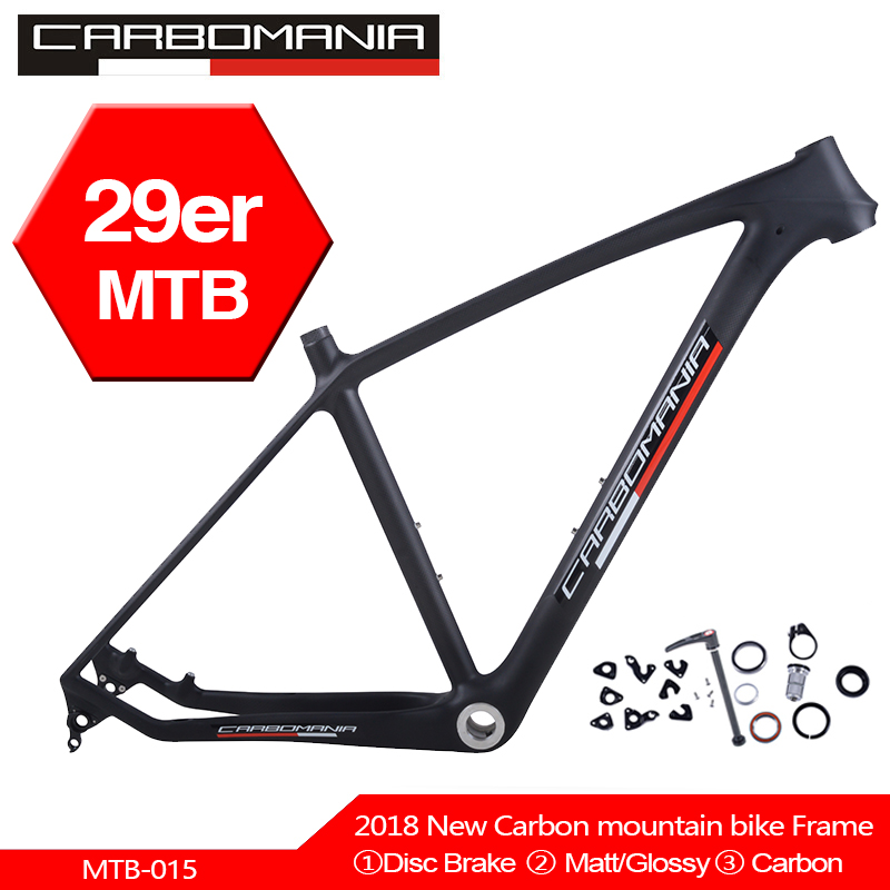 Carbomania Carbon Mountain Bike Frame 29er Chinese Carbon Mtb Bicycle Frame T800 Carbon Fibre Frame Bike 29inch Carbon Frame BSA