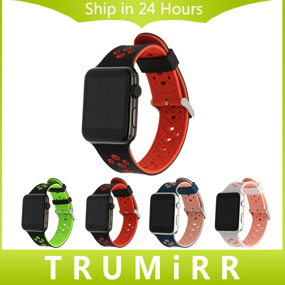 Silicone Rubber Watchband + Adapters for iWatch Apple Watch 38mm 42mm Series 1 2 Wrist Band Sport Strap Wrist Bracelet Black Red грин а с алые паруса цифровая версия