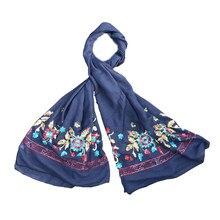 TNINE Coton Écharpe pour les Femmes Ethnique Broderie Fleur Glands Bandana  Foulards Coton Voile Châle Pashmina Foulard Hijabs f8d5e3deb7d