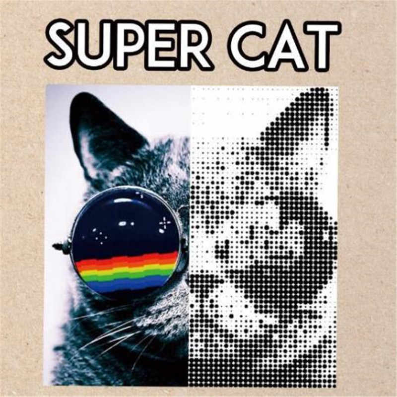 Fashion Patch DIY Clothes SUPER CAT 3d stickers Thermal Transfer Printing Iron on patches for clothing T shirt free shipping