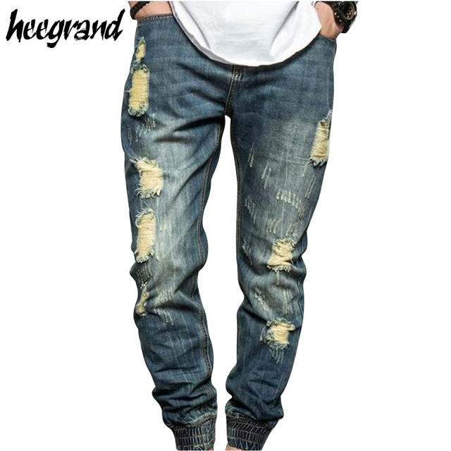 2d7a646637dab Hee grand destroyed ripped jeans hombres 2017 nuevos hombres de la moda  calle de Mezclilla Vaqueros
