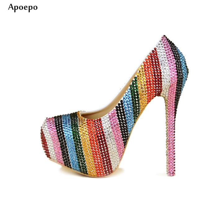 New Newest Colorful Rhinestones High Heel Shoes 2018 Bling Bling Crystal Wedding Heels for Woman Sexy Platform Pumps Shoes hogan rebel туфли