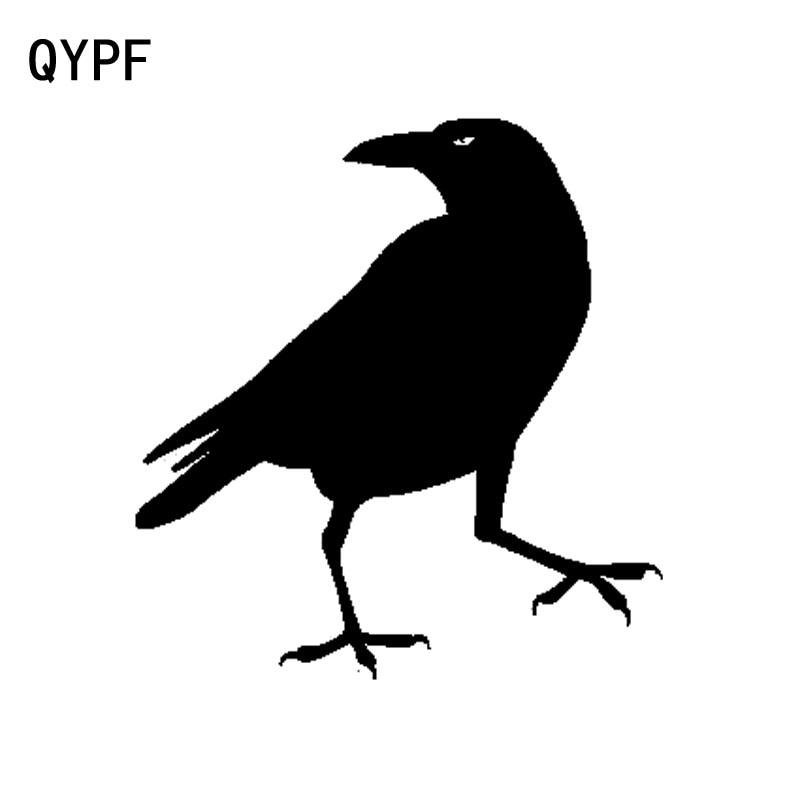 QYPF 14.6cm*15.5cm Cartoon Fun Crow Vinyl Car Sticker Decor Decal Black Silver Accessories C15-1155