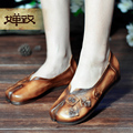 Female personality handmade women's shoes head layer cowhide leather women slip on shoes woman loafers flat