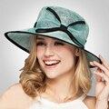 2017 Sol del Verano del Sombrero de Lino Elegante Trilby Kentucky Derby Sombreros