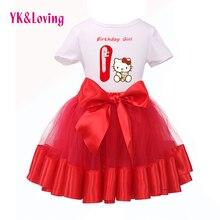Nouvelle Arrivée 2015 Bonjour Kitty Bébé Similaire Fille 1er Anniversaire à Manches courtes T-Shirt + Tutu Rouge Robe Enfants Portent des Vêtements ensemble