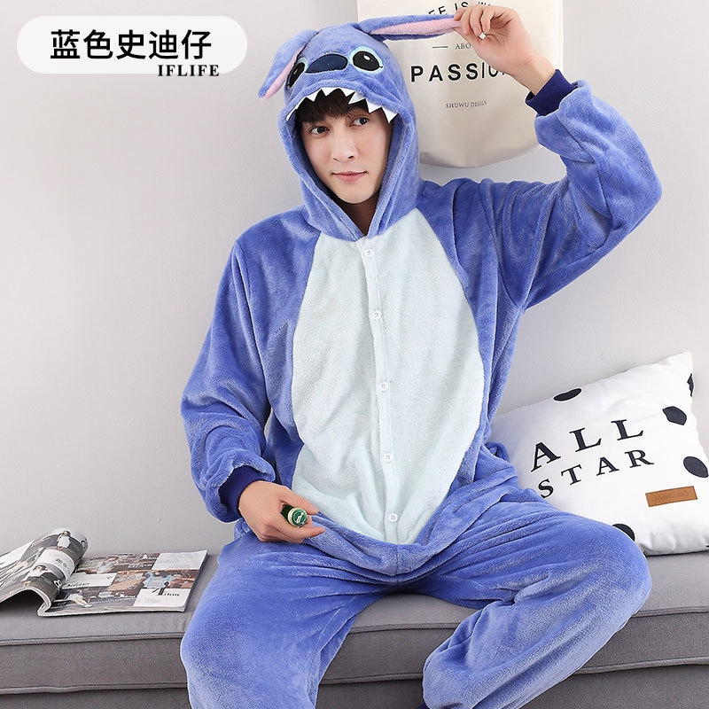 Adults Animal Kigurumi Stitch Pajamas Sets Sleepwear Cosplay Zipper Onesie Hooded Women Men Winter Unisex Cartoon Pajamas
