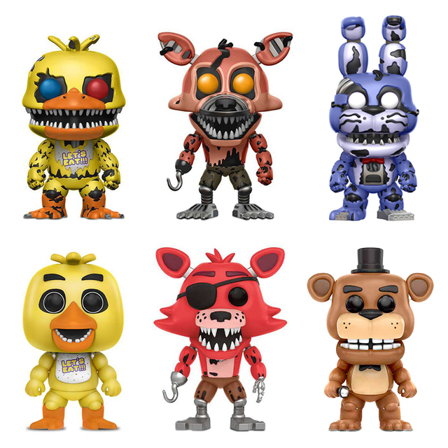 6PCS Five Nights At Freddy's Toys PVC Action Figures Vinyl FNAF Chica Bonnie Foxy Freddy Fazbear Puppet Nightmare Bear Dolls
