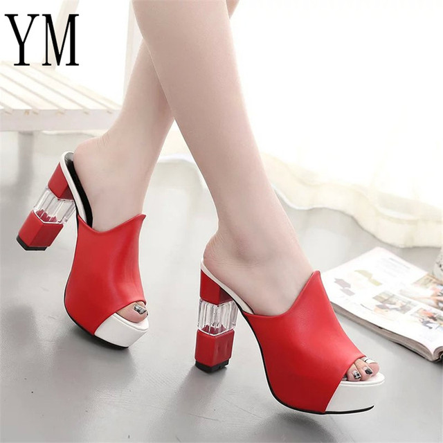 41fc92deaad3 018 Sexy Summer Women Elegant Red High Heel Sandals Peep Toe Platform Shoes  Crystal Chunky Heel Shoes Lady Thick Heel Fashion 40