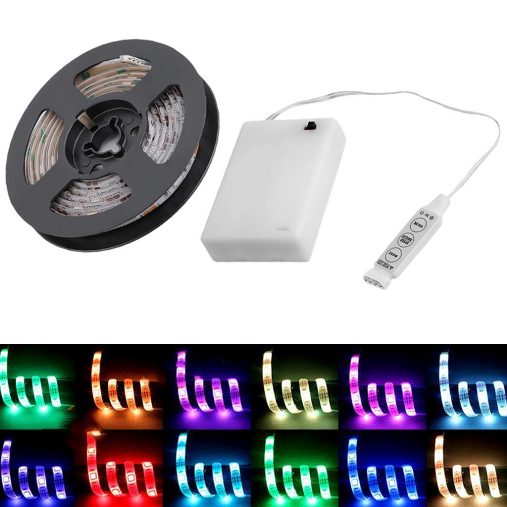 Faithful 2017 Led Strip Light Waterproof Ip65 2m/1.5m/1m/0.5m 5050 Smd Rgb/warm/cool Led Flexible Strip Tape String Lamp With Battery Box Led Strips