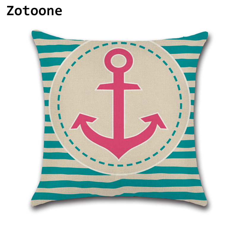 ZOTOONE Creative Ocean Series Cushion Covers Anchor Boat Navigation Cotton Linen Throw Pillow Home Decoration for Sofa Car Seat