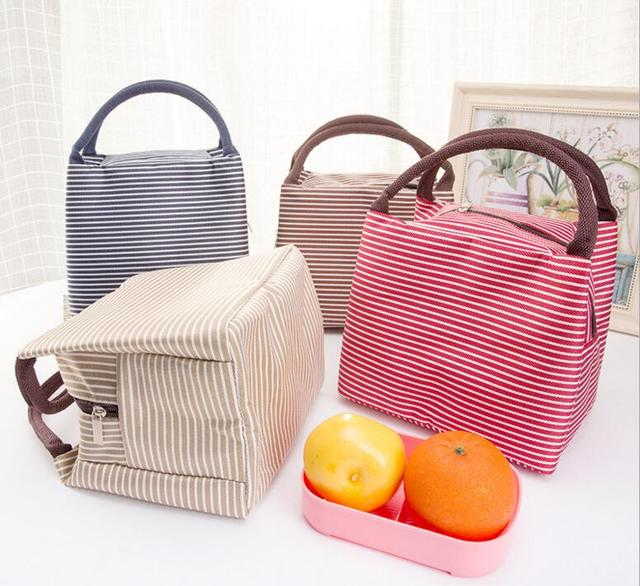 M677 2017new Simple And Generous Bento Lunch Bo Bags Large Portable Insulation Bag Cloth