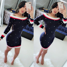 MUXU Pearl Sweater Autumn New Pattern Long Sleeve Knitting Dress woman clothes sexy off shoulder blue womens clothing streetwear