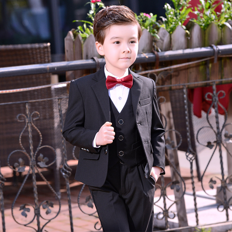 The Boy Flower Dress Suit Children's Small Business Suit Baby Boy Child Host Three piece Suit